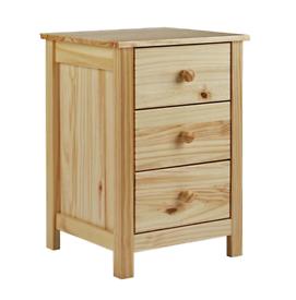 Scandinavia Pine 3 Drawer Bedside - New
