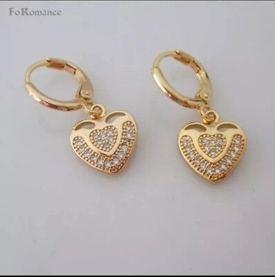Charming yellow gold plated heart pattern CZ small hoop earrings -