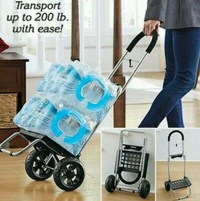Folding Lightweight Steel Rolling Cart Dolly Groceries Luggage Gardening Travel