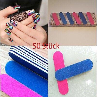 Mini Nagelfeile 50x Maniküre Pediküre Fingernägel rosa blau Einweg 50mm