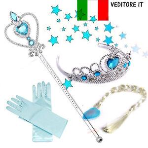 Frozen-Costume-Accessori-Guanti-Parrucca-Bacchetta-Tiara-Principessa-Elsa-4pezzi