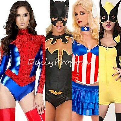 Sexy Lady Superheroes Adult Women Bat Mask & Bodysuit Cape Halloween Costume USA (Bat Lady Halloween Costume)