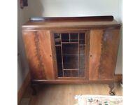 Attractive Antique Display Cabinet Glass Door Central plus 2 Side Cupboards