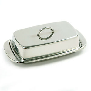Norpro-18-10-Stainless-Steel-Butter-Dish-Set-Serving-Tray-New