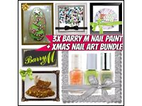 BARRY M GIFT SET COLLECTION❄️3x NAIL PAINT/POLISH & FREE XMAS NAIL ART BUNDLE❄️