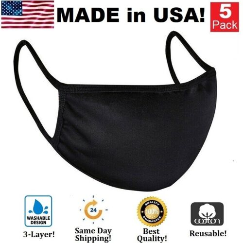 5 Pack Black Cotton Face Mask Washable Reusable Breathable Coverings Unisex USA
