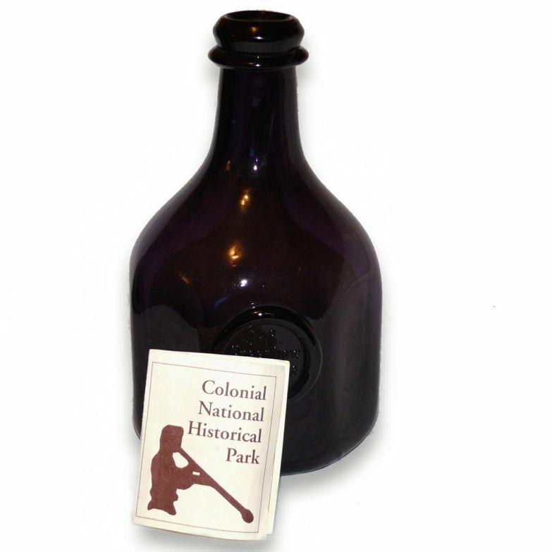 Jn Greenhow Williamsburg 1770 Colonial National Park Amethyst Blown Glass Bottle