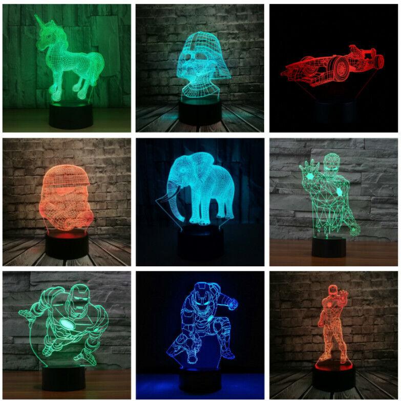 EU Plug-In 3D Night Lights Unicorn Bedroom Desk Led Illusion