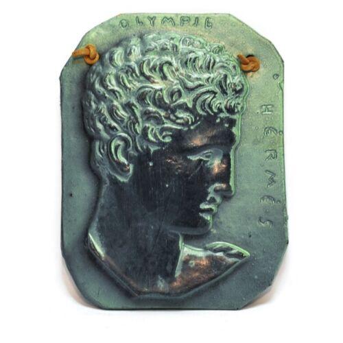 Vintage Hermes Greek Wall Plaque Ceramic Relief Green