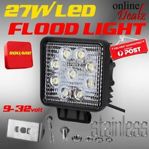 27W LED FLOOD LAMP BEAM SQUARE WORK LIGHT 4X4 BACKUP REVERSE 4WD, Castle Hill The Hills District Preview