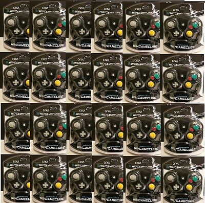 24 Wholesale Lot Black Cirka Controllers For Gamecube Wii