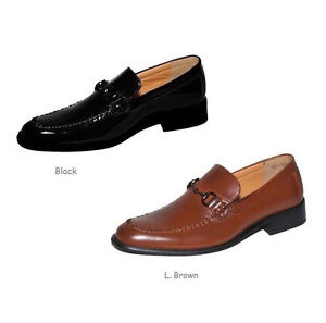 mens loafers faux leather casual dress shoes 4804 black