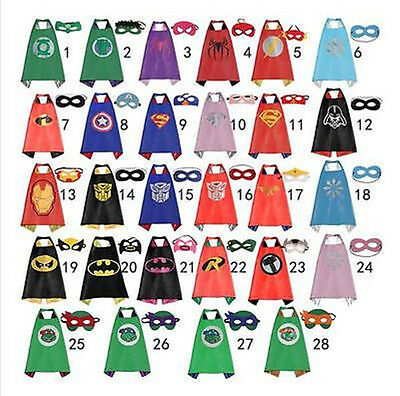 Boy and Girl Party Superhero Cape & Mask Costume Set Spiderman Batman Superman - Capes And Masks