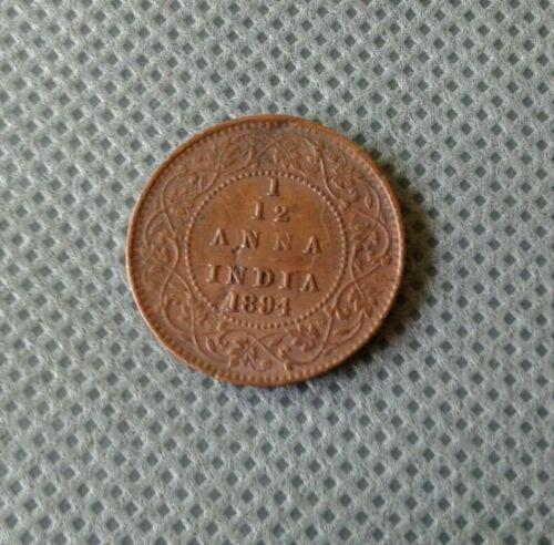 WORLD OLD COIN 1894 INDIA BRITISH 1/12 ANNA  Rare Old Coin!!!!!!