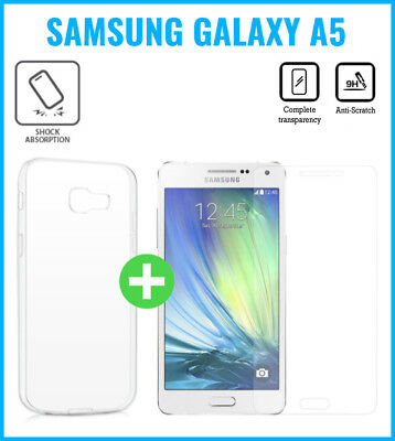 Transparent Gel Case+Screen Protector Tempered Glass For Galaxy Samsung A5 2016