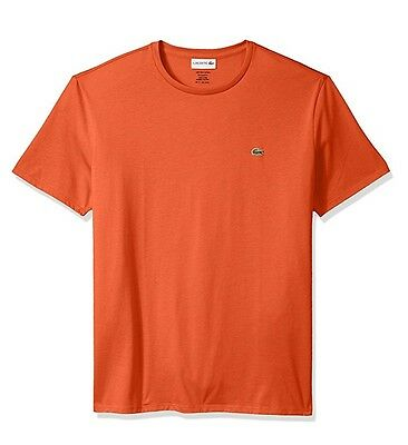 Pima Crewneck Tee - Authentic Lacoste Men's TH6709 Pumpkin 100% Pima Crewneck SS Tee  T-Shirt Shirts