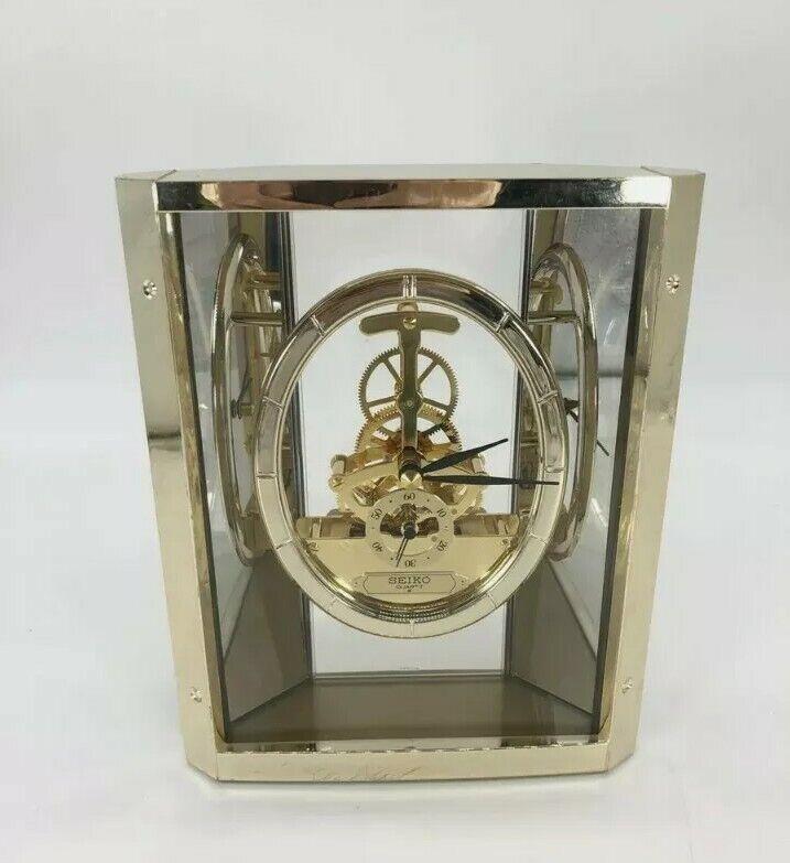 Seiko Quartz Lucite Brass Skeleton Clock QAW110G Gears Gold 12404 steampunk look