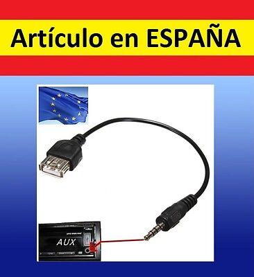 CABLE ADAPTADOR jack 3.5mm a hembra USB radio salida auxiliar audio 3,5mm...