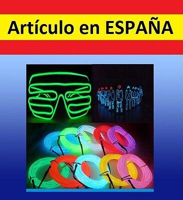 LUCES NEON baile 1m + BATERIA tira iluminacion flexible12V fiesta disfraz coche