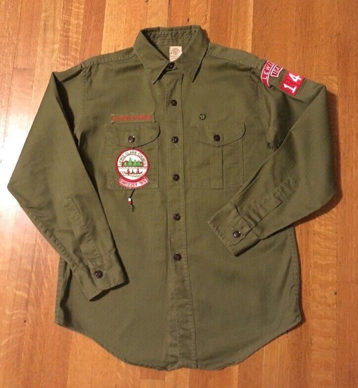 1960s Vintage Boy Scout BSA Uniform Shirt + Patches Sanforized Lewiston Idaho