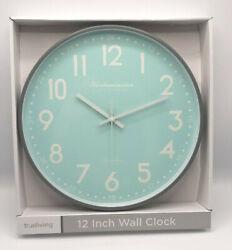AQUA TEAL GRAY Wall Clock WESTMINSTER 12 inch Mid Century Modern NEW blue