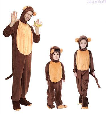 Adult/Kid Unisex Monkey Halloween Costume Cosplay Jumpsuit Fancy Dress Outfits (Kid Monkey Costume)