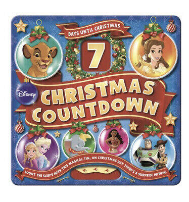 DISNEY 7 DAYS UNTIL CHRISTMAS COUNTDOWN TOY-STORY FROZEN SEALED COLLECTORS TIN