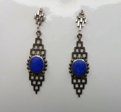 Unusual BOMA Sterling Silver 925 Lapis Lazuli Earrings