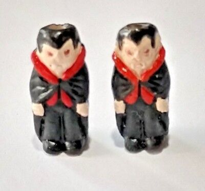 2 Peruvian Ceramic MINI Halloween Vampire Earring Beads DIY - Halloween Peru 2