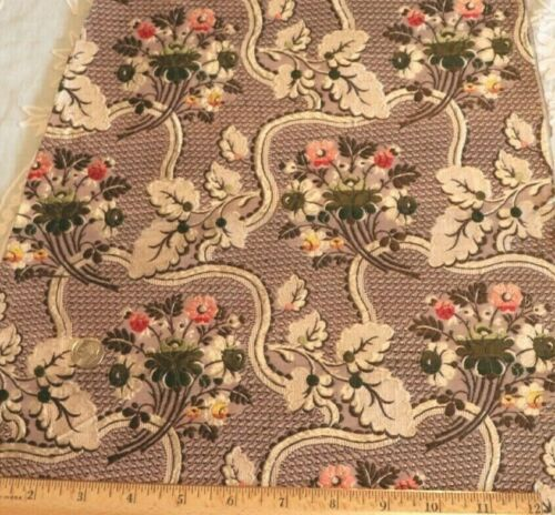 "Antique French 18thC Floral Silk Brocade Fabric~Dolls,Home,Collectors~35""X14"""