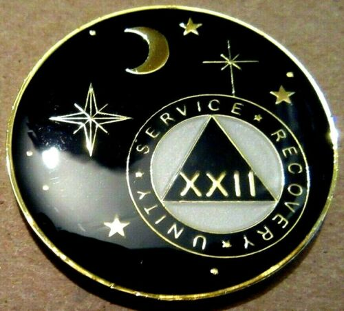 Black Gold Moon Alcoholics Anonymous AA 22 Year Medallion Token Coin Chip sober