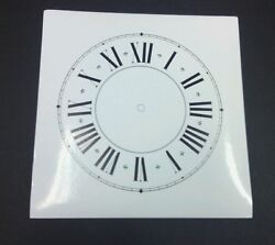 3 Roman Numeral Paper Clock Faces: 8 1/4 sq. Self adhesive. 6 1/2 time track.