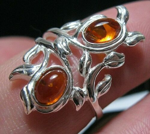 Beautiful Sterling Silver Art Nouveau Revival Baltic Amber RING Size O 7