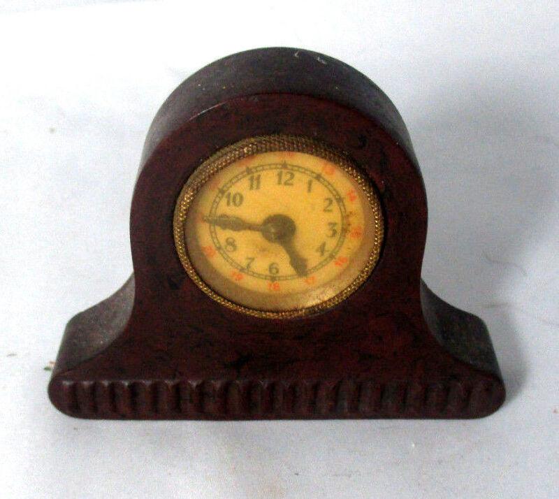 CARVED MANTLE CLOCK Bakelite TAPE MEASURE,c1900 Original ANTIQUE,figural
