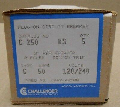 5 Nib Challenger C250 Circuit Breaker 50a 50 Amp 2p 240v 240 Volt 4 Available