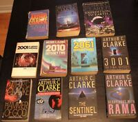 Science fiction books by Arthur C Clarke and James Herbert