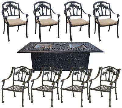 Patio conversation sets with propane fire pit 8 piece garden outdoor furniture  ()