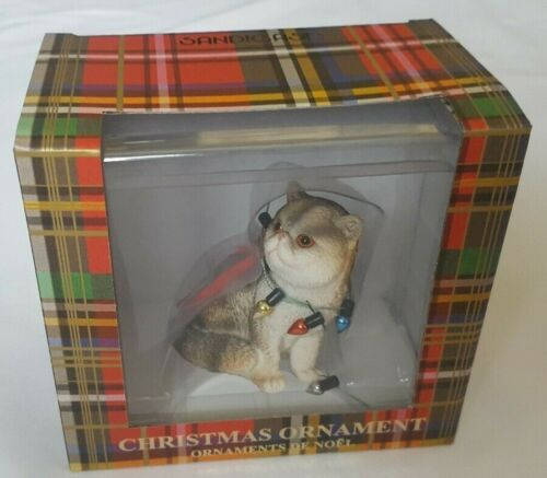 Sandicast Exotic Shorthair Calico Cat Christmas Ornament New With Box