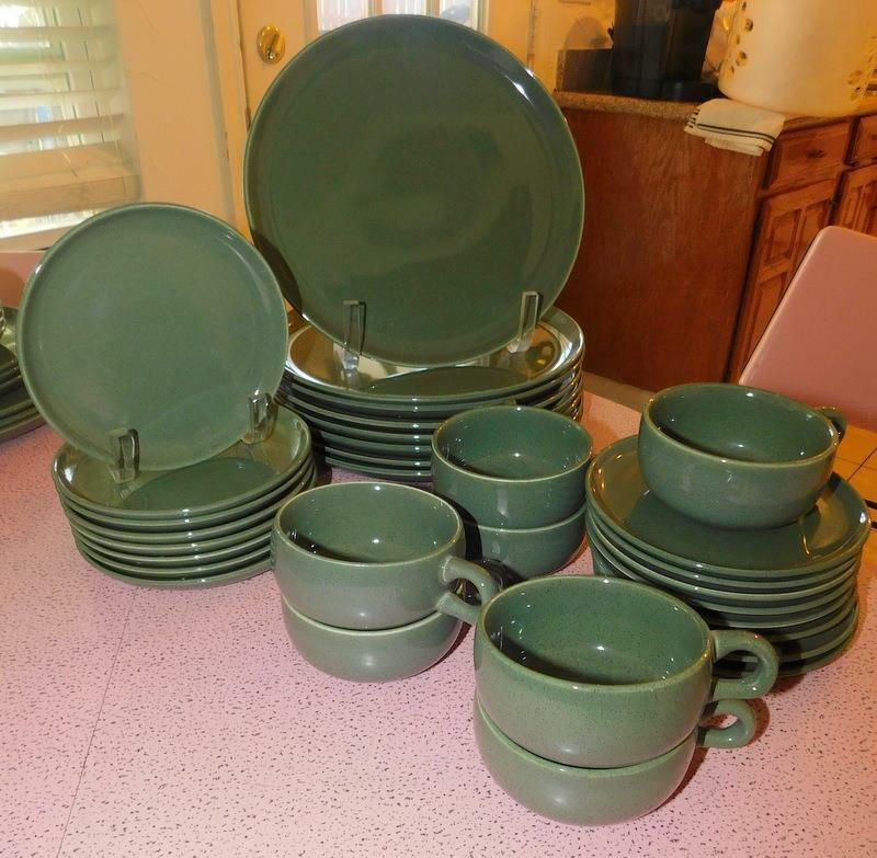 MID CENTURY MODERN RUSSEL WRIGHT STEUBENVILLE 4 PC PLACE SETTING CEDAR GREEN