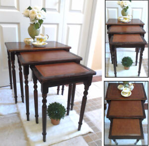 ANTIQUE Walnut Leather 3-Pc Nesting Tables, Timeless Beauties!