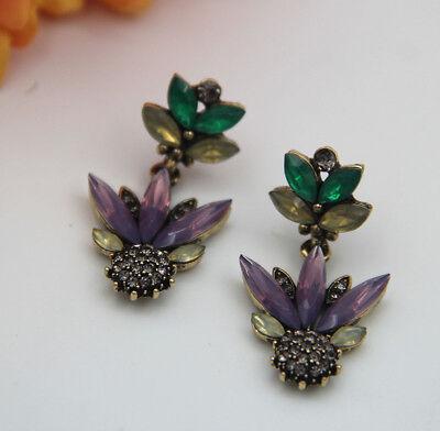 Multi Crystal Gold Plated Long Ear Stud Hoop tassels earrings Christmas (Crystal Gold Tassels)