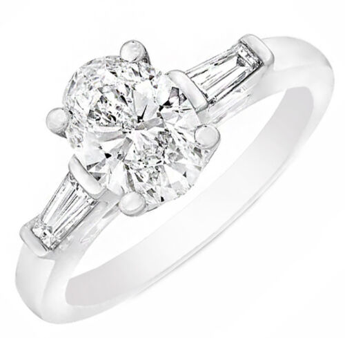 Platinum with Baguette Oval Shape GIA Certified Diamond Engagement Three-Ston...