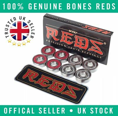 8x Genuine Bones Reds Precision Skateboard/Scooter/Roller Derby Bearings
