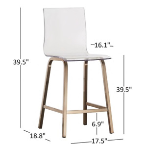 Set of 4 Gold & Acrylic Counter Height Stools