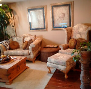 Hi-Back Chair, Ottoman & Love Seat Set