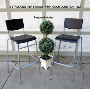 2  STACKABLE IKEA BAR/COUNTER HEIGHT STOOLS