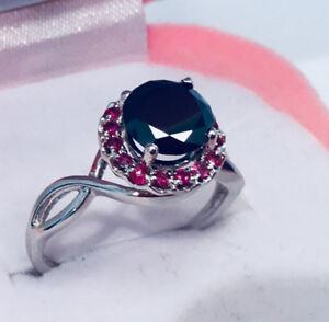 Unique Bague en or 10k Diamant Noir de 1,08 carat et Rubis