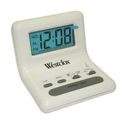 Westclox  13/16 in. L White  Travel Alarm Clock  Batteries Required