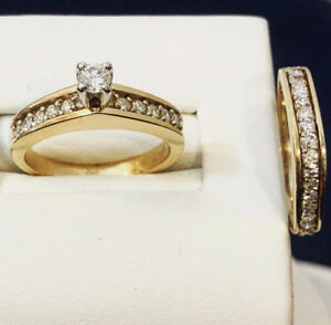 14k yellow gold diamond engagement ring set^Certified -- $2,900