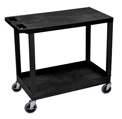 Purpose Utility Cart - Luxor Multi-Purpose Utility Cart in Black with One Tub & One Flat Shelf, EC21-B